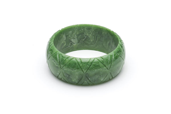 1940s Bakelite Style Wide Green Bangle