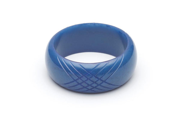 Handmade Larger Size Bangle in Wide Periwinkle Blue Fakelite