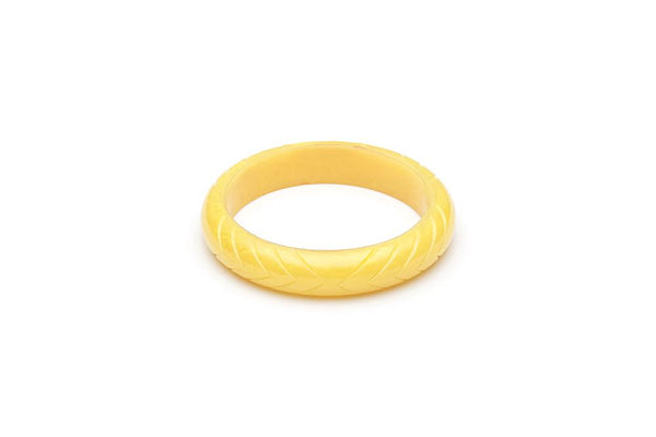 Handmade Bangle in Smaller Maiden Size Midi Lemon Yellow Fakelite