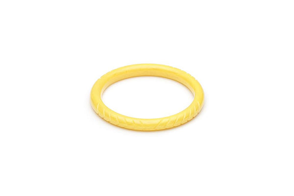 Handmade Bangle in Narrow Lemon Yellow Fakelite