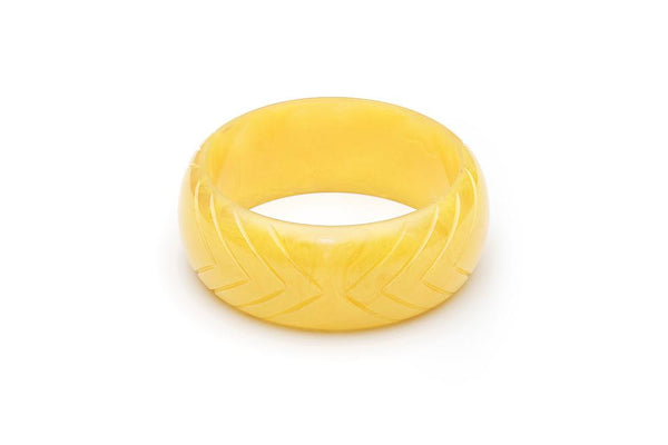 Handmade Bangle in Wide Lemon Yellow Fakelite