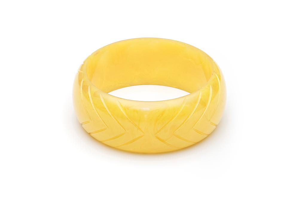 Handmade Bangle in Wide Larger Size Lemon Yellow Fakelite