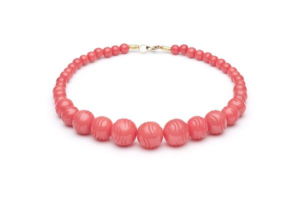 1950s Style Bead Necklace in Tropical Punch Fakelite