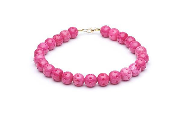1950s Style Bead Necklace in Candy Pink Fakelite