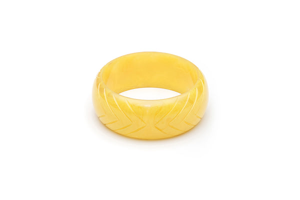 Handmade Bangle in Smaller Size Wide Lemon Yellow Fakelite