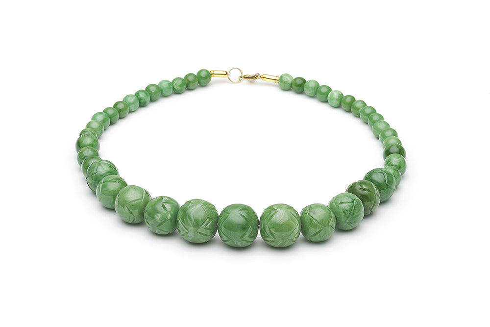 1940s Style Bead Necklace in Sage Fakelite