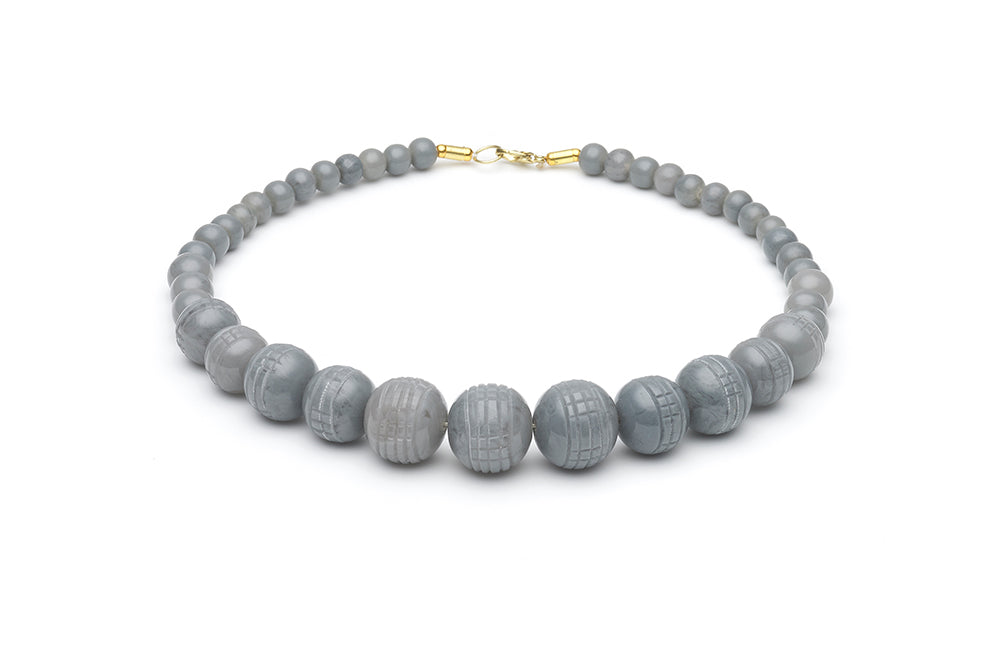 Vintage Style Bead Necklace in Stone Grey Fakelite