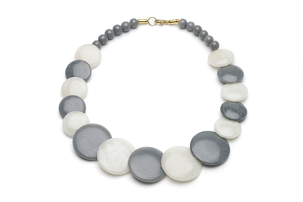 Vintage Style Disc Necklace in Stone and Cloud Grey Fakelite