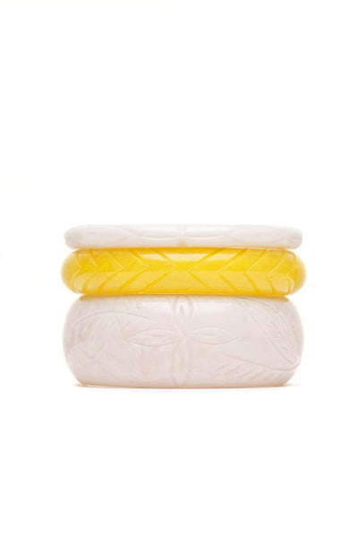Handmade White and Yellow Set of 3 Vintage Style Bangles