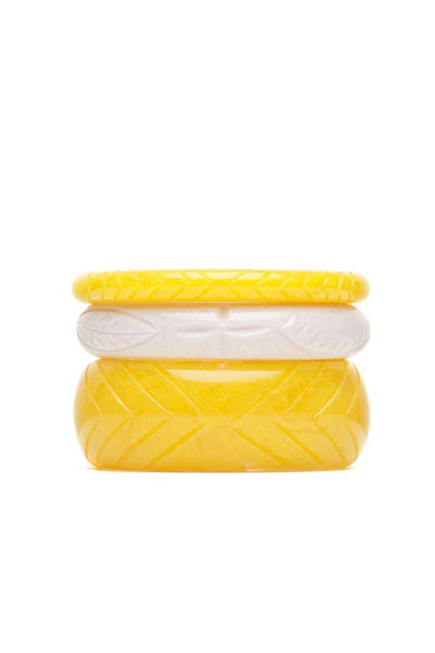Handmade Yelow and White Set of 3 Vintage Style Bangles