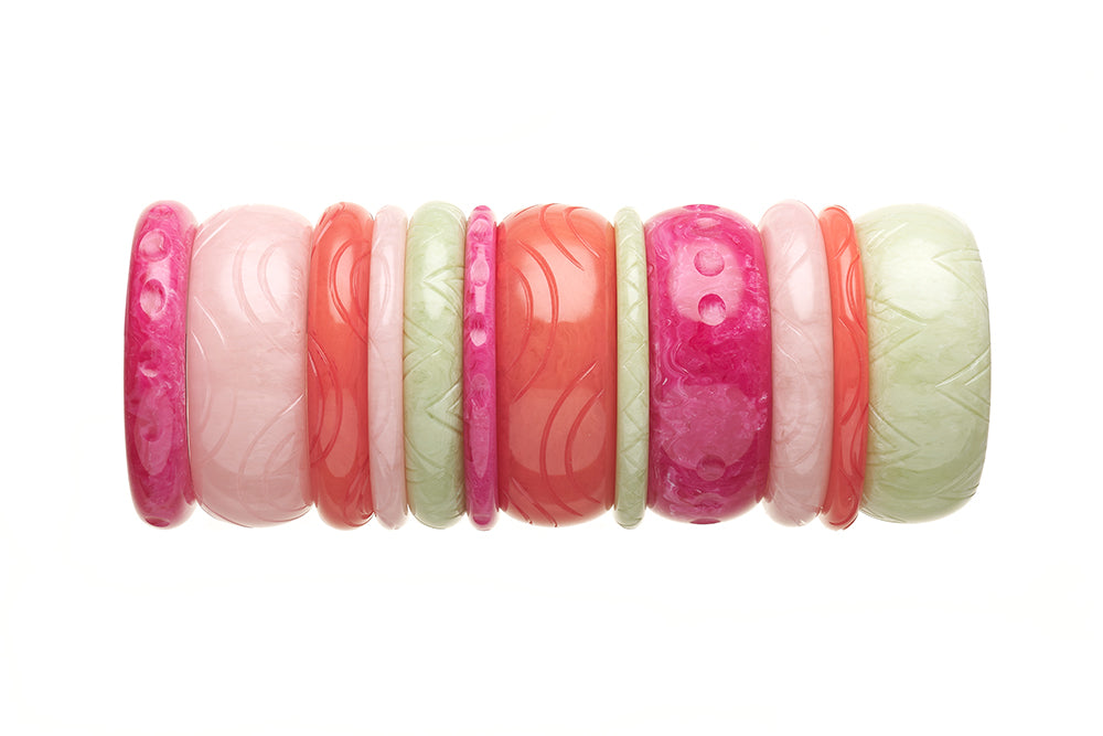 1950s Style Bangle Stack in Pink and Green Fakelite