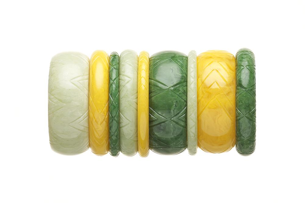 Handmade 1940s Style Bangle Stack in Green and Yellow Fakelite