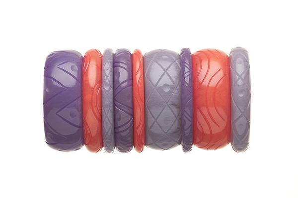 1950s Style Bangle Stack in Purple and Peach Fakelite