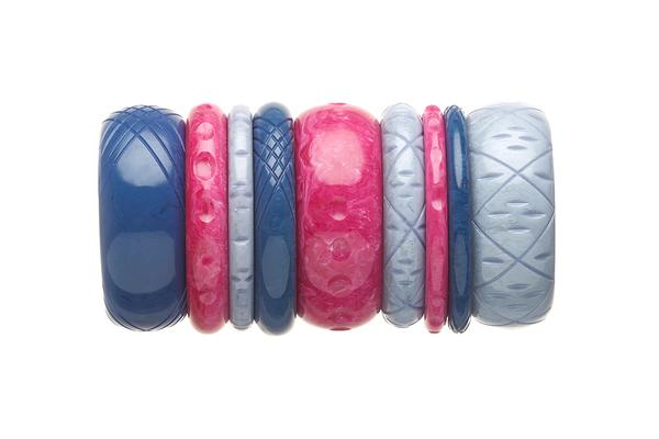 1950s Style Bangle Stack in Pink and Blue Fakelite