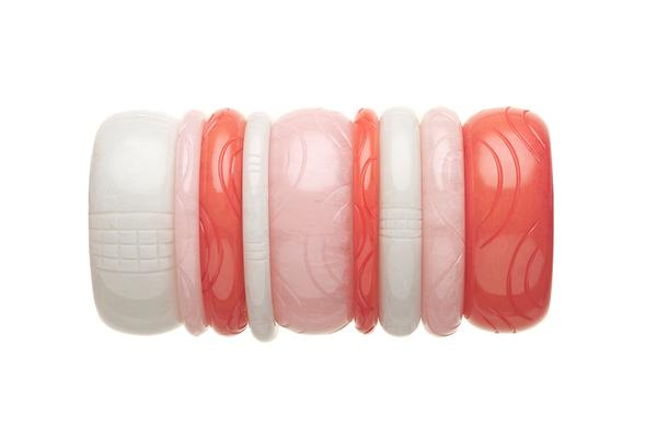 1950s Style Bangle Stack in Pink and White Fakelite