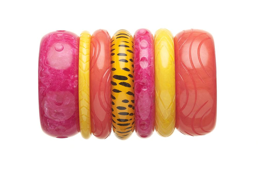 Handmade 1950s Tropical Coloured Bangle Stack by Splendette