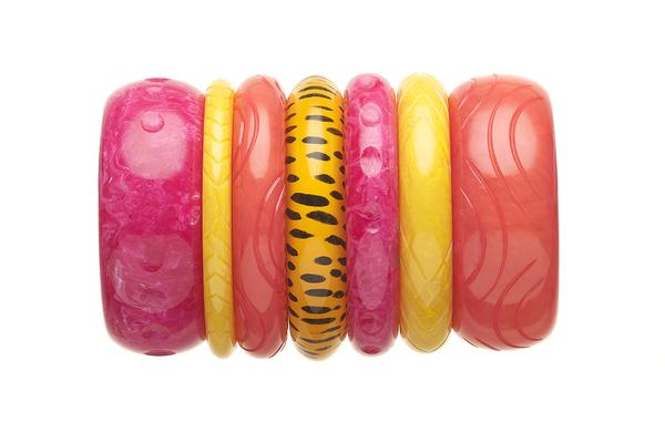 1950s Style Bangle Stack in Pink and Yellow Fakelite