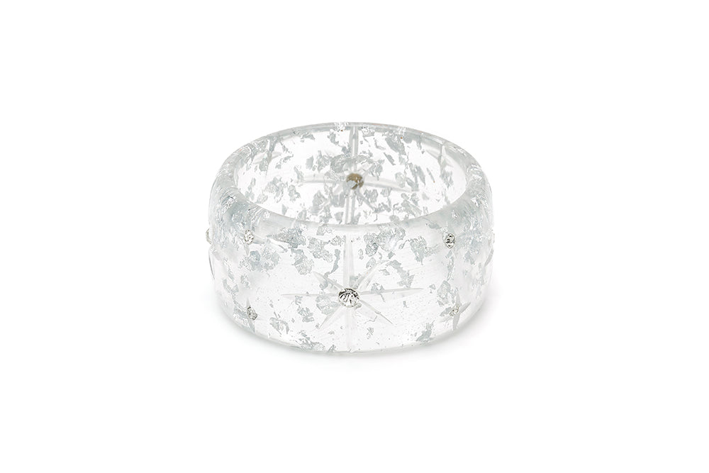 Extra Wide Silver Foil Starburst Maiden Bangle