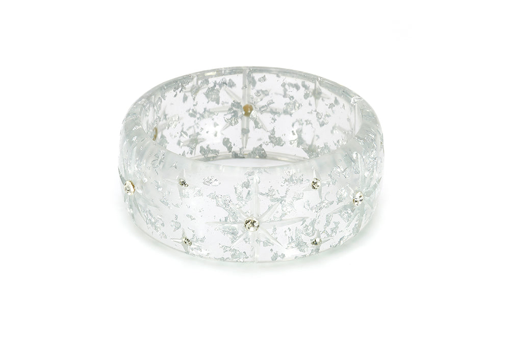 Extra Wide Silver Foil Starburst Duchess Bangle