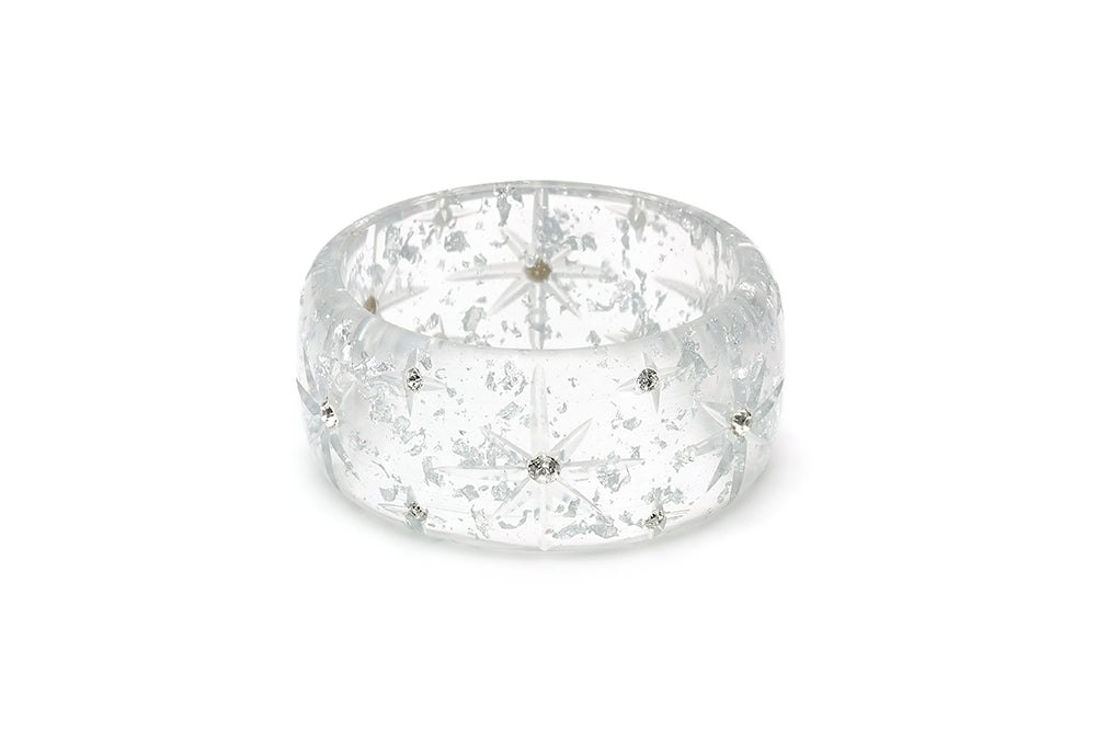 Extra Wide Silver Foil Starburst Bangle
