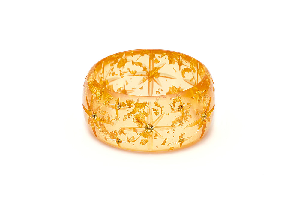 Extra Wide Gold Foil Starburst Bangle