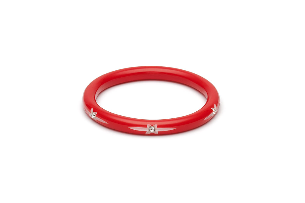 Narrow Red Starburst Bangle