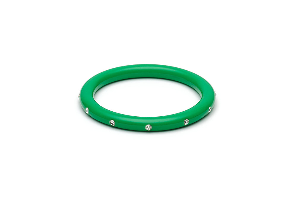 Narrow Green Diamante Duchess Bangle