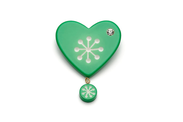 Garland Green Atomic Snowflake Brooch
