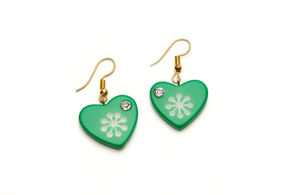 Garland Green Atomic Snowflake Heart Earrings