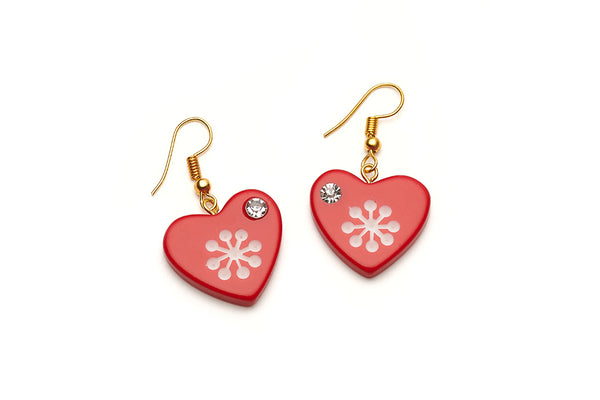 Tonttu Red Atomic Snowflake Heart Earrings