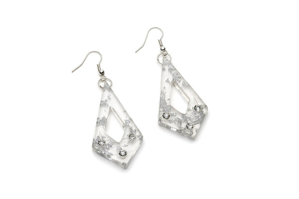 Silver Foil Carved Starburst Drop Earrings