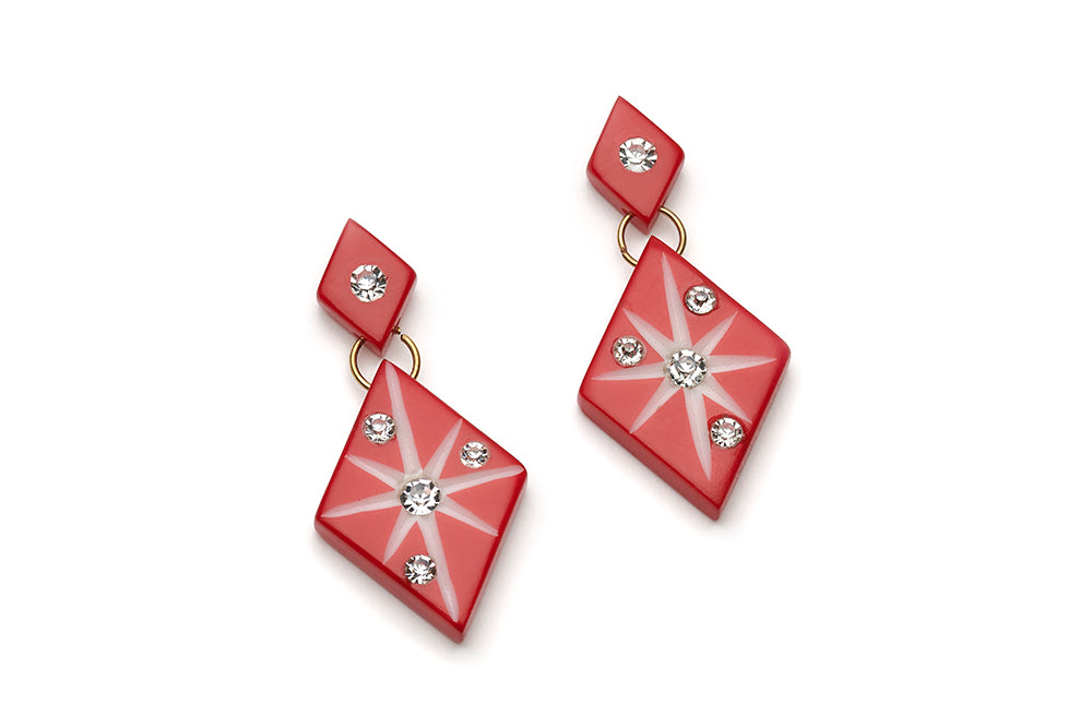 Red Carved Starburst Drop Earrings