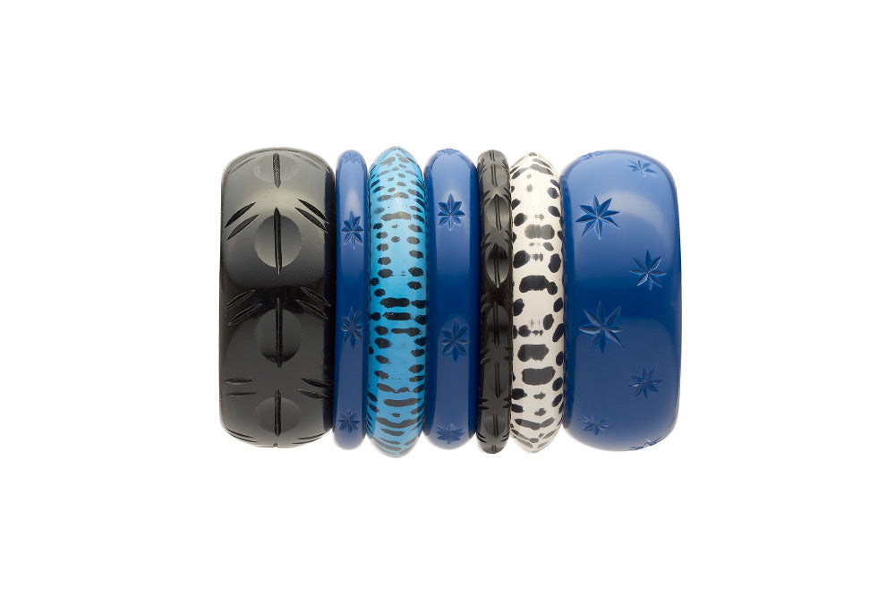 Stack of retro style bangles in twilight black and leopard