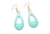 1940s style humanitea turquoise heavy carve drop earrings