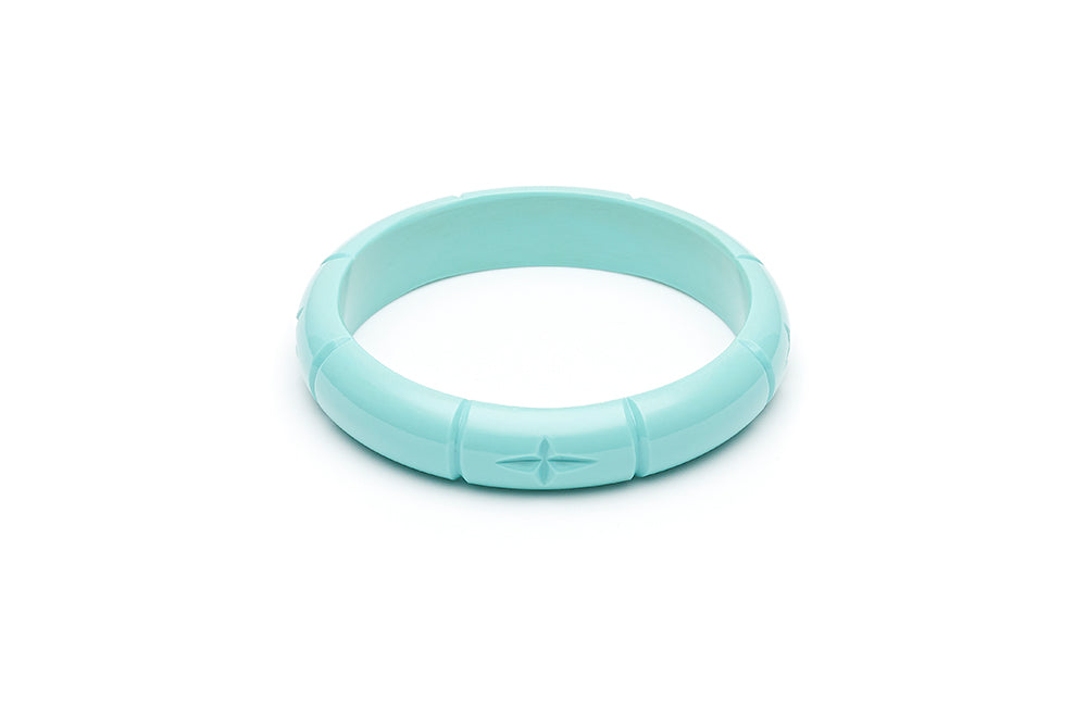 1940s style humanitea turquoise heavy carve midi bangle