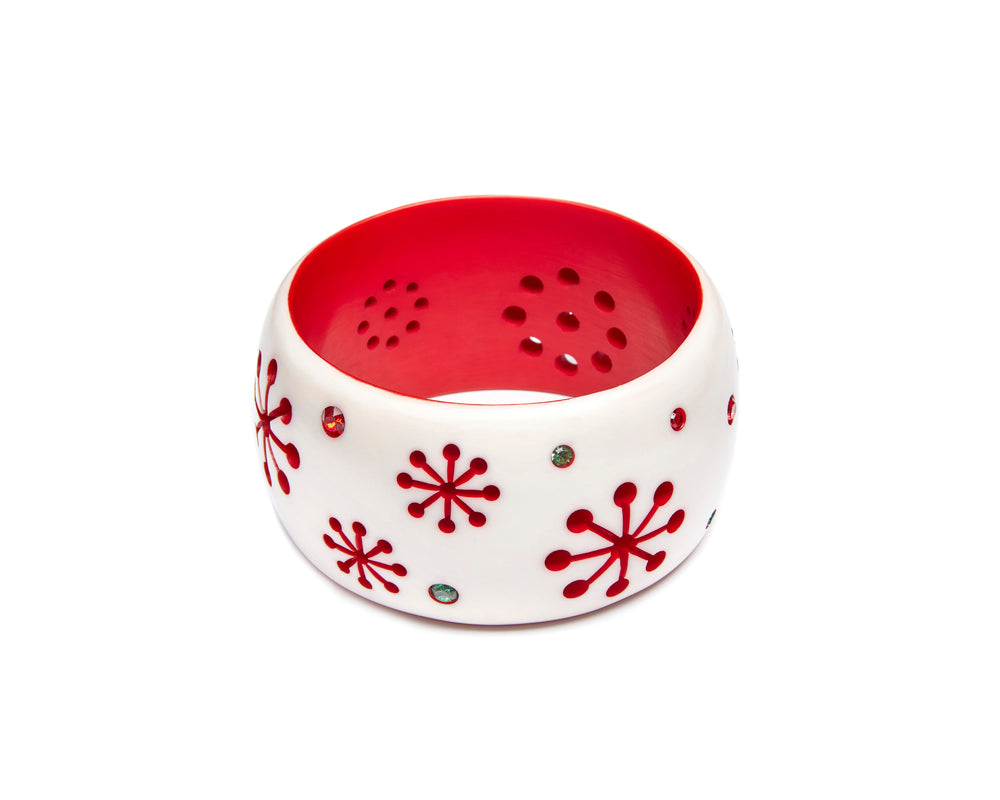 Splendette vintage inspired 1950s mid-century Christmas style white and red Extra Wide Lumi Atomic Snowflake Bangle in Classic size