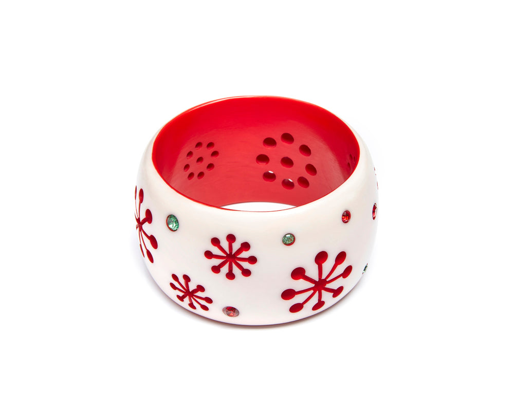 Splendette vintage inspired 1950s mid-century Christmas style white and red Extra Wide Lumi Atomic Snowflake Bangle in larger Duchesssize
