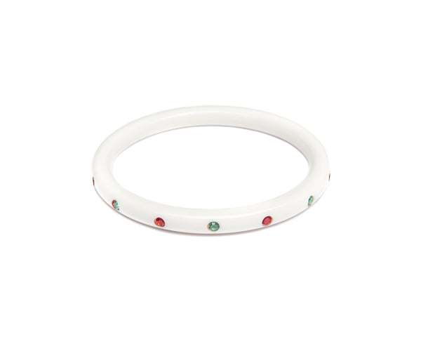 Splendette vintage inspired 1950s mid-century Christmas style white Narrow Lumi Atomic Snowflake Bangle in larger Duchess size with red and green diamantes