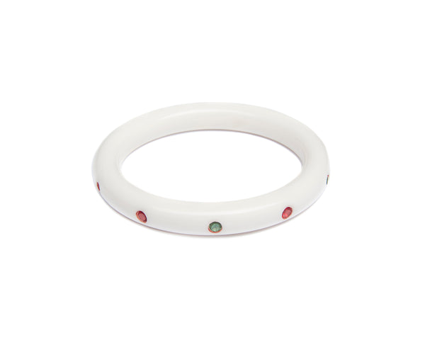 Splendette vintage inspired 1950s mid-century Christmas style white Narrow Lumi Atomic Snowflake Bangle in smaller Maiden size with red and green diamantes