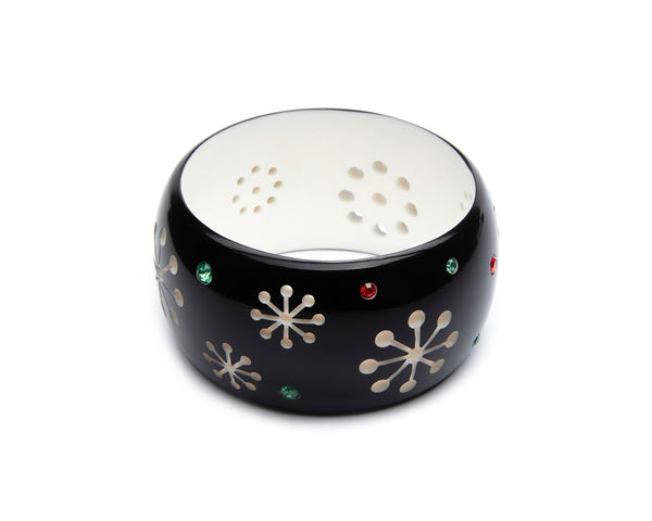 Splendette vintage inspired 1950s style, mid century Christmas black Extra Wide Musta Atomic Snowflake Duchess Bangle larger size