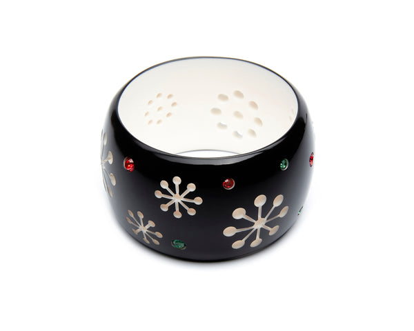 Splendette vintage inspired 1950s style, mid century Christmas black Extra Wide Musta Atomic Snowflake Bangle