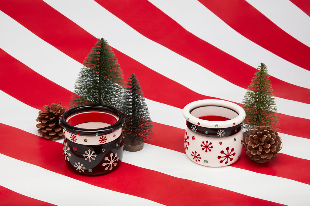 Splendette vintage inspired 1950s Christmas style Atomic Snowflake Bangle stacks with black Musta and white Lumi bangles