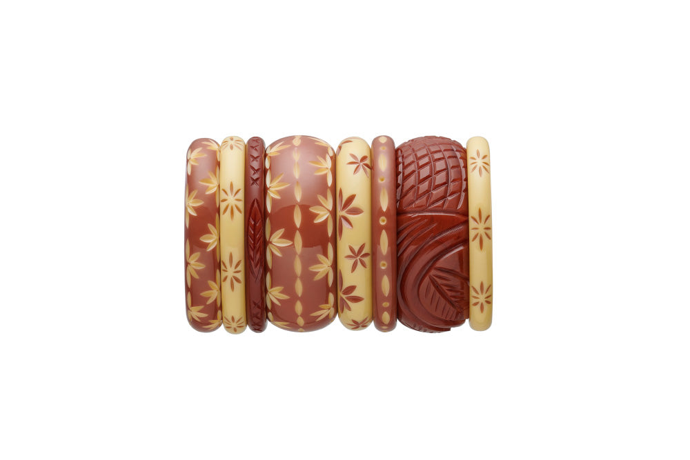 Splendette vintage inspired 1950s Western style stack of carved fakelite bangles with brown Tobacco and Duotone Café, and cream Lait