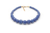 Splendette vintage inspired 1950s style blue Duotone fakelite Forget-Me-Not Carved Bead Necklace
