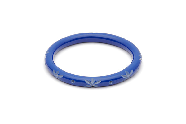 Splendette vintage inspired 1950s style Spring 2021 blue Duotone fakelite Narrow Cornflower Carved duchess Bangle