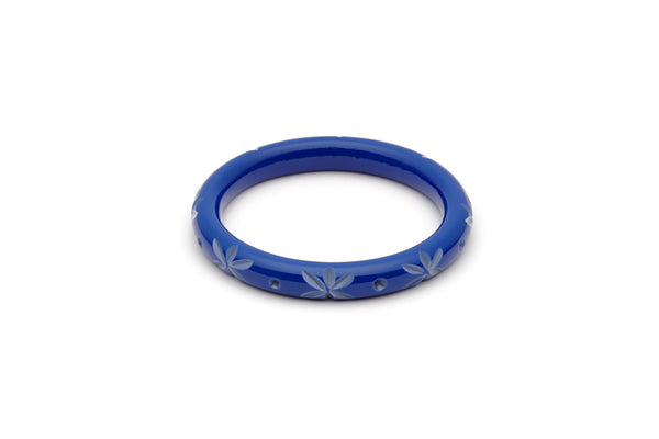 Splendette vintage inspired 1950s style Spring 2021 blue Duotone fakelite Narrow Cornflower Carved Maiden Bangle