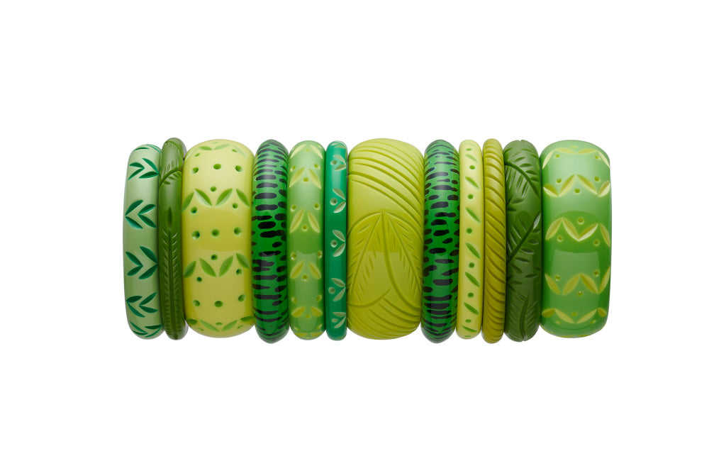 Splendette vintage inspired 1950s style stack of green carved fakelite bangles with Spring, Summer, Leaf, Chartreuse, Lime, Zest and Green Leopard Print
