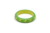 Splendette vintage inspired 1950s style green Duotone fakelite Midi Lime Carved Bangle in Maiden size