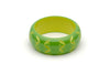 Splendette vintage inspired 1950s style green Duotone fakelite Wide Lime Carved Bangle in Classic size