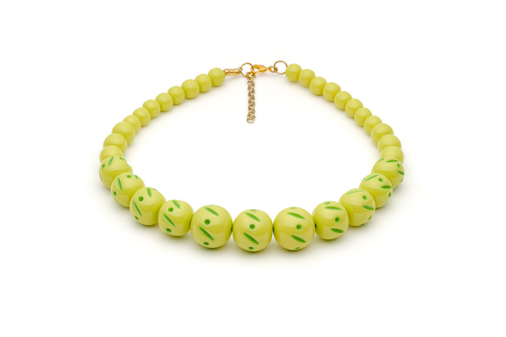 Splendette vintage inspired 1950s style Spring 2021 bright green Duotone fakelite Zest Carved Bead Necklace